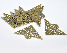 50 Bronze Tone Filigree Triangle Hollow Wraps Charms Connectors Embellishments