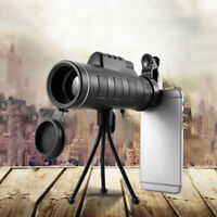 40X60 High Power Zoom Optical Outdoor Monocular Telescope HD Lens Clip For Phone