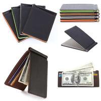 Minimalist Slim Bifold Wallet with Money Clip for Men ID Credit Card Cash Holder