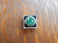 Vintage Navajo Fred Harvey Era Green Turquoise Sterling Silver Stamped Ring Sz 8