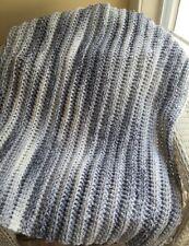 BABY AFGHAN BLANKET crochet handmade bulky SOFT SUPER CHUNKY white grey lapghan
