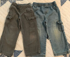 Boy 4T Cargo Pant Lot 2 Pair Circo & Okiedokie Blue Denim & Gray Corduroy