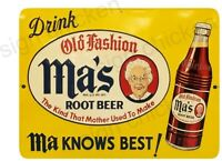 Ma's Root Beer Sign, Vintage style, tin like sign, ALUMINUM- old advertisement