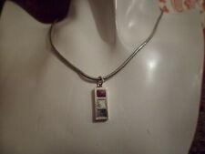 silver colour chain necklace with tricolour filled ingot pendant