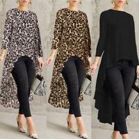 Women Long Sleeve Asymmetrical Waterfall Shirt Tops High Low Plus Size Blouse US