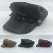 Faux Leather Greek Fisherman Style Sailor Fiddler Driver Army Cadet Hat Cap