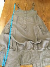 Unique Renaissance Bubble Shift Linen Dress Made In Italy Size Large Olive Green