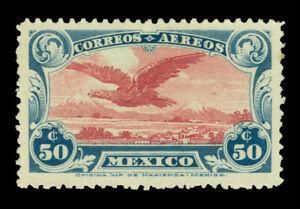 MEXICO 1922 AIRMAIL -  Eagle  50c dark blue & claret  Scott # C1a mint MLH VF
