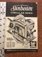 Vtg Sunbeam Circular Saws Owners Manual For Cat. #7210-20-30-40