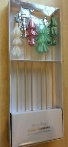 New Pack of 6 Meri Meri Christmas Tree Cake Toppers - Trees Star Crescent Moon