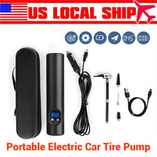 Portable 12V Car Tire Air Pump Inflator 6000mAh Black For Ball Bike Bicycle US!