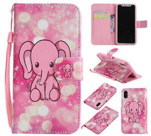 Cute Elephant Cartoon Flip Wallet Antislip Hot Case Back Cover For Various Phone