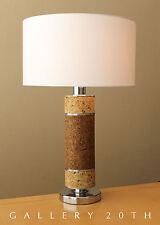WOW! LAUREL MID CENTURY MODERN CORK TABLE LAMP! Atomic Vtg 60s Light Chrome Desk