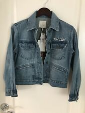 JOIE $298 Blue Jean Denim Jacket Born To Run Embroidered Oui Oui New
