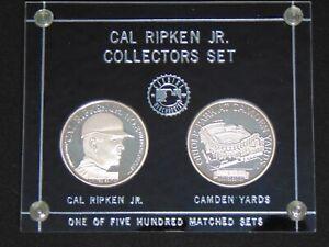 CAL RIPKEN BALTIMORE ORIOLES CAMDEN YARDS ENVIROMINT COIN 999 SILVER ROUND 1/500