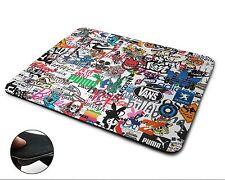 Sticker Bomb Premium Quality Flexible Rubber Mouse Mat / Mouse Pad - white