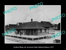 OLD POSTCARD SIZE PHOTO OF CARIBOU MAINE THE AV RAILROAD DEPOT STATION c1922