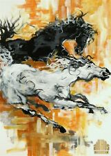 ANDRE DLUHOS Wild Horses Gallop Modern Abstract Limited Edition ACEO Art Print