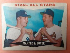"""1960 Topps Baseball Set Break: #160 """"Rival All Stars"""" Mickey Mantle, Ken Boyer"""
