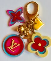 LOUIS VUITTON Bag Charm Key Ring Bijou Sac Flower Monogram w/LV BOX & DUSTER 💝