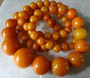 """vintage art deco butterscotch amber bakelite bead 31"""" long flapper necklace D399"""