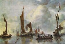 Postcard Johannes Van de Cappelle State Barge Greeted by Home Fleet MINT