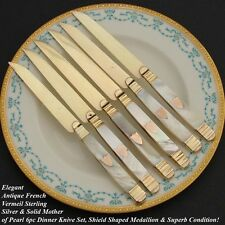 Rare Antique French Vermeil & Mother of Pearl 6pc Knife Set: 1819-38 Hallmark