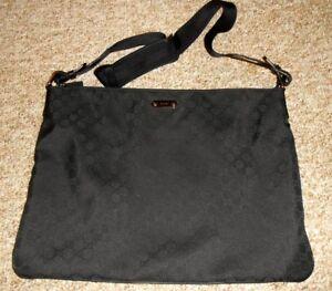 100% Genuine Gucci 190628 Black GG Logo Monogram Large Messenger Laptop Bag ~ S6