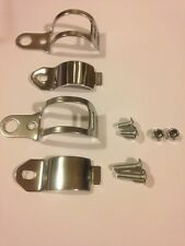 NEW MOTORCYCLE INDICATOR BRACKET CLAMPS CHROME FORK MOUNTED 35MM PAIR