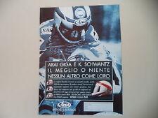 advertising Pubblicità 1991 CASCO ARAI GIGA e KEVIN SCHWANTZ