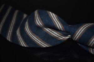 #1 MENSWEAR Ermenegildo Zegna Cashmere Silk Mix Midnight Repp Stripe Flannel Tie