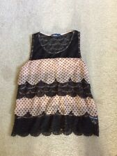 LADIES BLACK/DARK BEIGE? ABANDON SLEEVELESS LACEY WITH SPOTS FRILLED TOP SZ LG