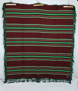 "PENDLETON Wool Blanket Stripped Pattern 64x69"" Maroon Green 1973-Recent Charity"