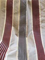Cowtan & Tout Cut Velvet Silk Stripe Fabric Drapery Upholstery 6.5 Yards