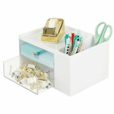 mDesign Plastic Office Storage Caddy, Desk Organizer, 4 Sections - White/Clear