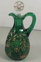 Emerald Green Beaumont Flora Cruet W/ Gold Highlights & Original Flower Stopper