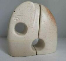 Mid Century Modern Modernist Sculptural Carved Soapstone Elephant Bookend Pair