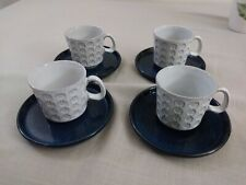 Cermano pottery, omega-dot, gray, mid-century cups and saucers