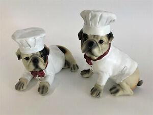 "Bulldogge ""Cook"" Figur Koch aus Kunststein 24 x 14 x 18 cm u. 20 x 13 x 23 cm"