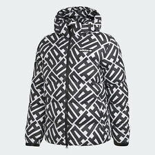ADIDAS ORIGINALS AOP HOODED JACKET PUFFER MEN'S SIZE XL WHITE BLACK BR9321