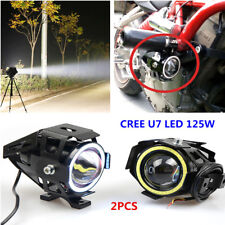 2xCREE U7 LED 125W Motorcycle Headlights Driving Fog Lights Spot Lamp DRL+Switch
