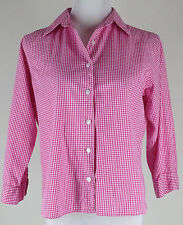 L.L. BEAN 3/4sl Pink & White Cotton Gingham Shirt (RELAXED FIT,Straight Hem)- S