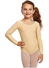 Leveret Girls. L 10-12 Leotard Long Sleeve Ballet Dance Leotard Skin Tone Nude