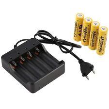 4 x 18650 3.7V 9800mAh Li-ion Wiederaufladbare Batterie Akku + EU Ladegeräte