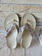 Crocs Women's 7 Cheetah Leopard Print Comfort Summer Rubber Flip Flops Sandals