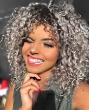 Women's Short Afro Curly Mix Gray Hair Wig with Bang Synthetic Cosplay Halloween