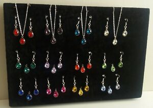 BIRTHSTONE COLOURED TEARDROP SHAPED EARRING AND PENDANT SET SILVER TONE  NEW