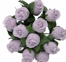 144 Miniature Poly Rose Silk Favor Flower Pick Wedding Shower - lavender