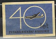 Matchbox Label. Aviation. 40th Anniversary of Czechoslovak Airlines.