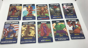 5 MINUTE MARVEL Card Game Replacement Pieces Parts ALL 10 HERO MATS